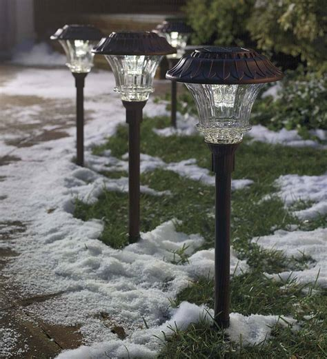 plow and hearth solar lights solar led path lights set of 4 solar lighting plowhearth