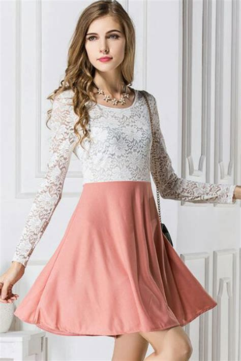Two Tone Ruffle Accent Top pink two tone lace accent skater dress 022190