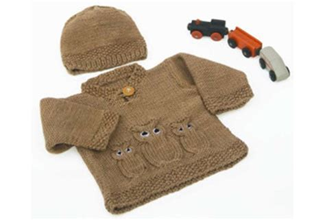 knitting pattern owl sweater knitted owl baby sweater and hat free knitting pattern