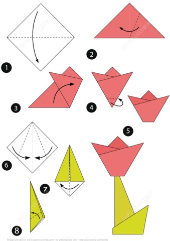 Medium Level Origami - how to make an origami tulip step by step