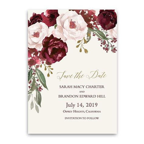 Save The Date Cards by Fall Wedding Save The Date Cards Burgundy Gold