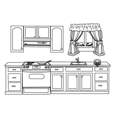 Coloring Page Of A Kitchen | coloring pages kitchen