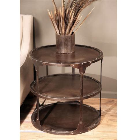 industrial metal side table alfons industrial loft round 3 tier metal side table