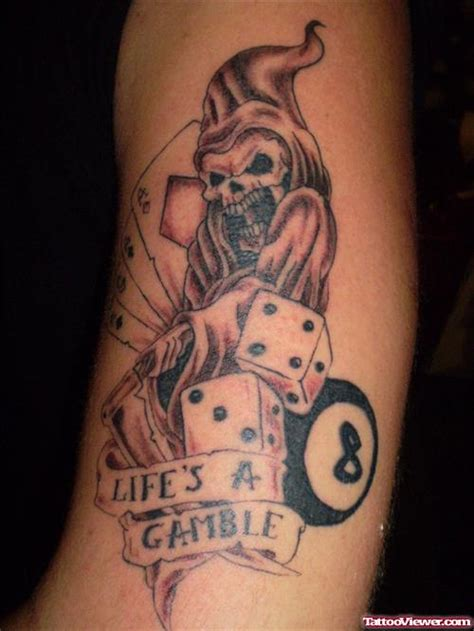 grey ink dices and life gamble tattoo design tattoo