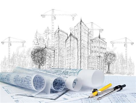 construction layout engineer sketching of modern building construction and plan
