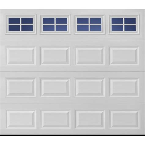 9x7 Garage Door Lowes shop pella traditional series 108 in x 84 in insulated white garage door windows at lowes