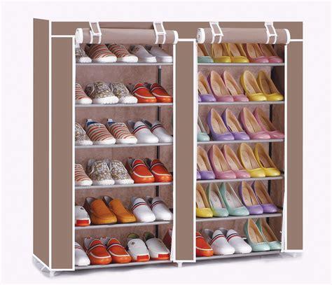 canvas shoe storage vinsani 12 tier canvas shoe shelf standing storage