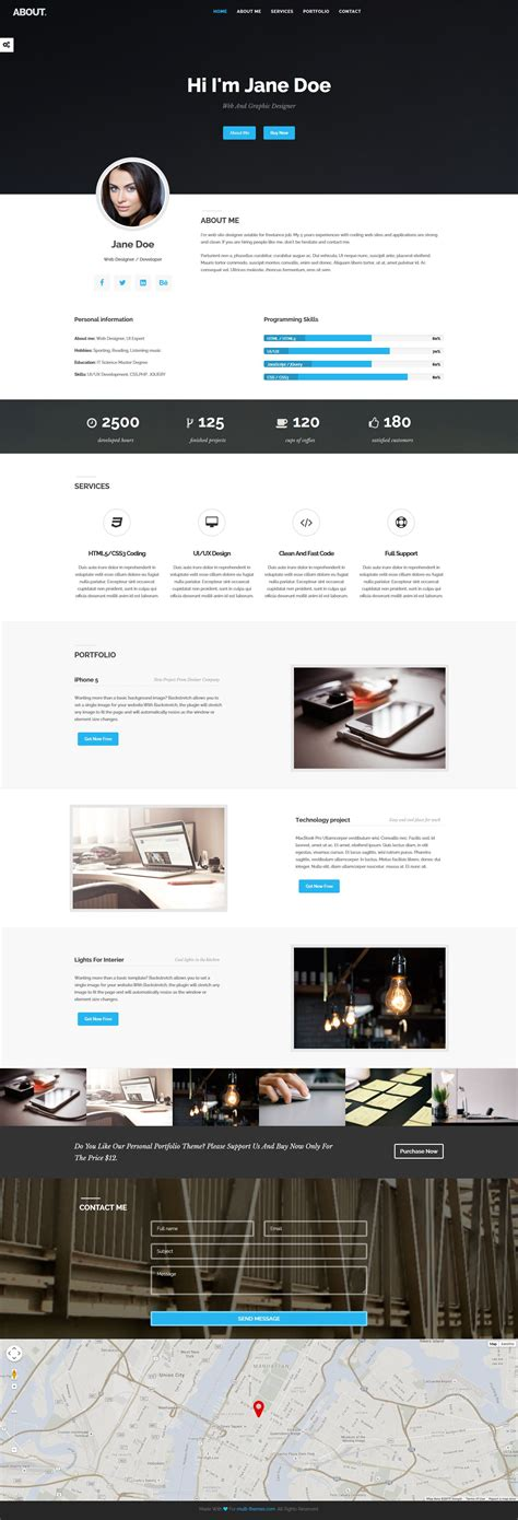 bootstrap themes unity about html bootstrap resume portfolio theme html