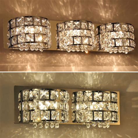 crystal bathroom vanity light fixtures modern crystal mirror vanity wall light l bathroom