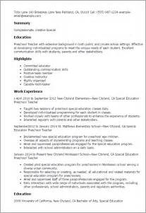 Resume Preschool Teacher Professional Special Education Preschool Teacher Templates