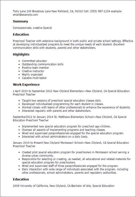 Examples Of Effective Resumes by Professional Special Education Preschool Teacher Templates