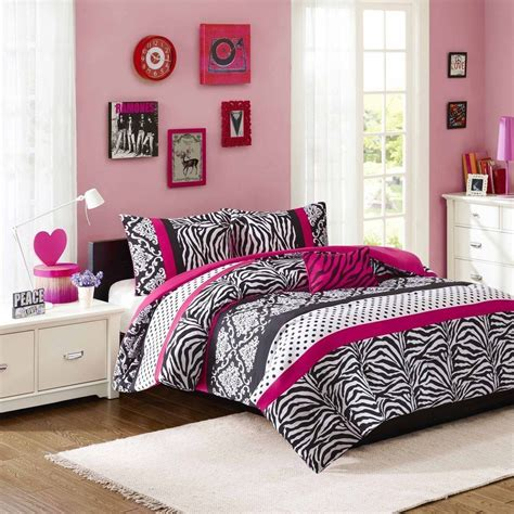 pink zebra comforter set beautiful chic black hot pink purple polka dot zebra
