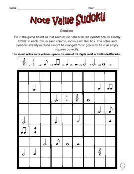 printable music sudoku music sudoku with basic music symbols 1 by kacy tpt
