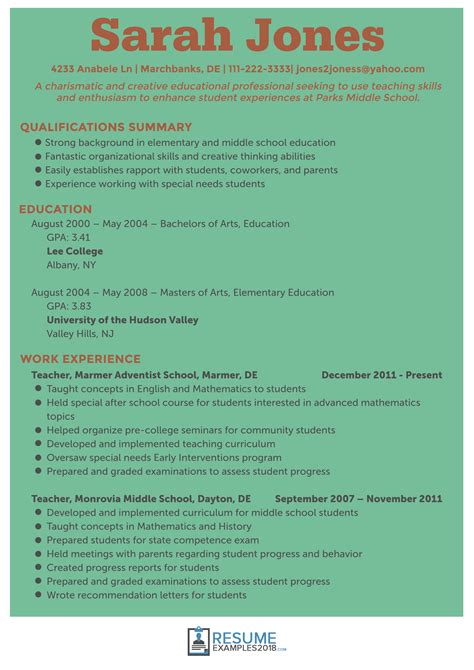 resume format for teachers 2018 excel in these resume exles 2018