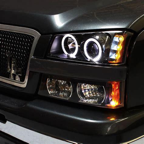 halo lights for chevy silverado 03 06 chevy silverado twin halo led projector headlights