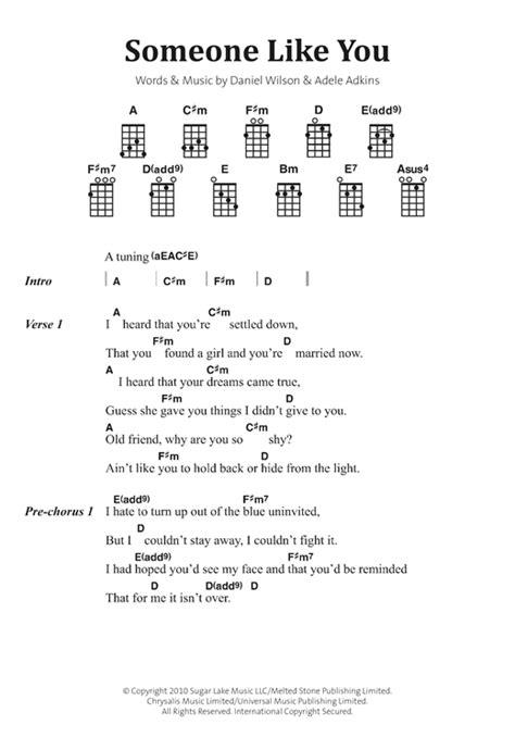 guitar tutorial adele someone like you someone like you sheet music by adele banjo lyrics