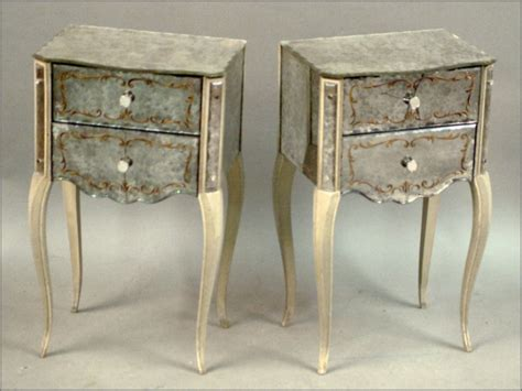 Mirrored Glass Nightstand Pair Of Venetian Style Mirrored Glass Nightstands 1691911