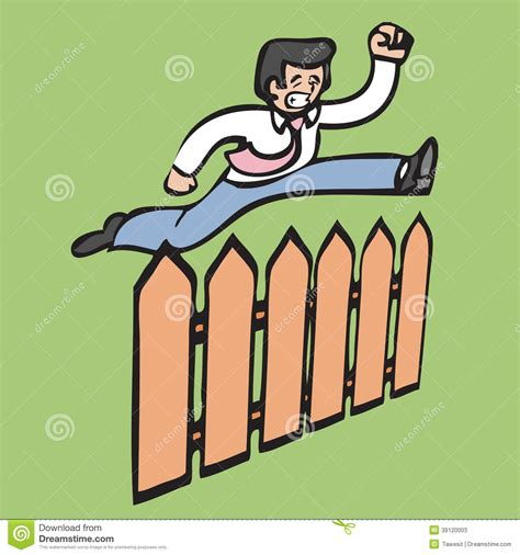 jumping fence businessman jump fence stock illustration image 39120003