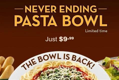 olive garden never ending pasta bowl just 9 99 through