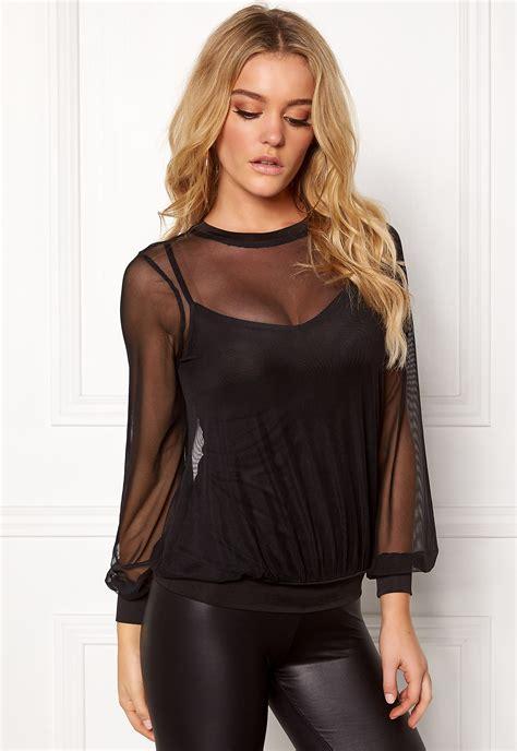 tshirts toppe c 1 30 32 happy ally mesh top black bubbleroom