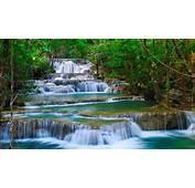 Tropical Cascade Waterfall In Kanchanaburi Thailand Nature