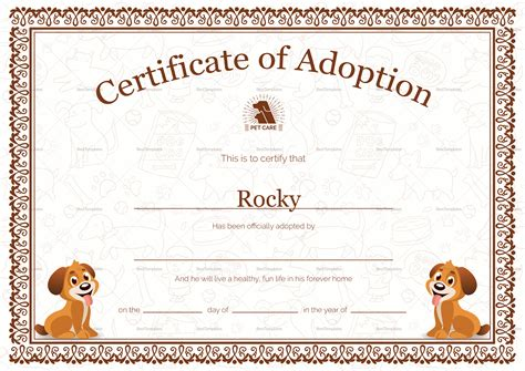pet adoption certificate design template in psd word