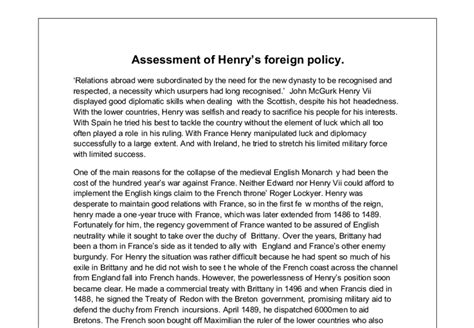 Henry Viii Essay by Assessment Of Henry Vii S Foreign Policy A Level History Marked By Teachers
