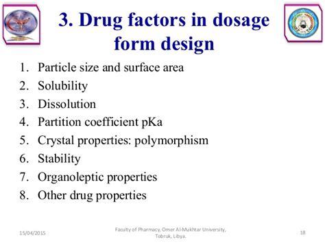 dosage form design questions introduction to dosage form design