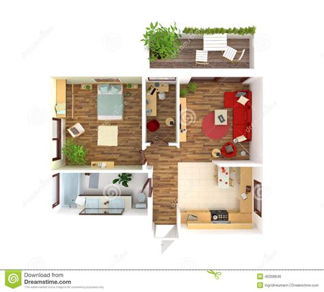 house plan top view interior design stock illustration