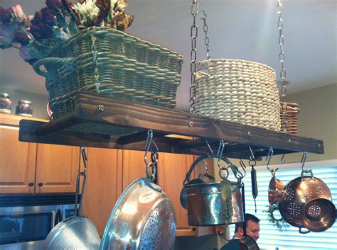 Rustic Pot Rack Walnut Stained Distressed Rustic Ladder Pot Rack