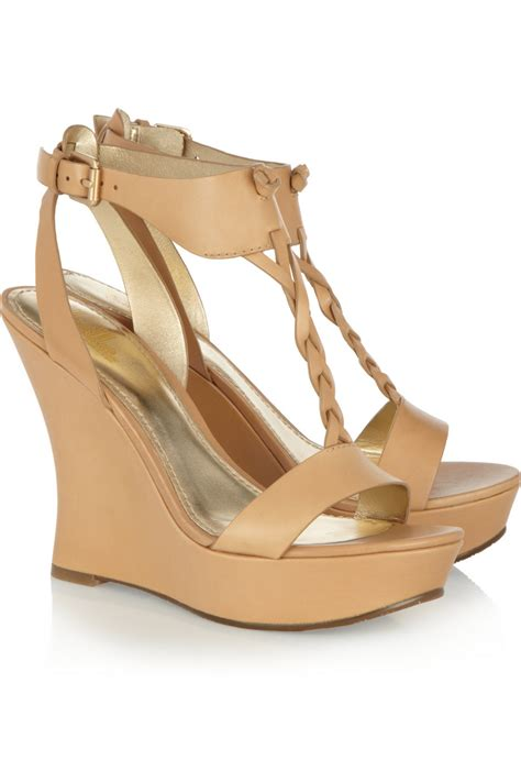 sigerson morrison sandals by sigerson morrison leather wedge sandals in beige