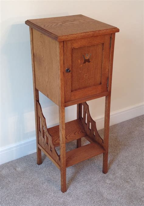 tall bedside cabinets arts and crafts oak cupboard tall bedside cabinet 291842