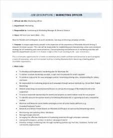 Marketing Officer Description by Sle Marketing Description 9 Exles In Pdf Word