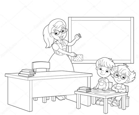 the coloring page the classroom illustration for the