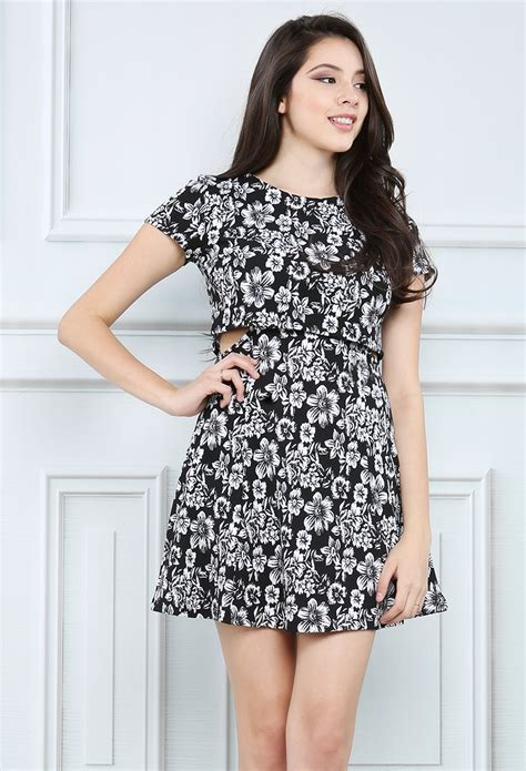 flower pattern outfit side cut flower pattern dress shop night out outfits at