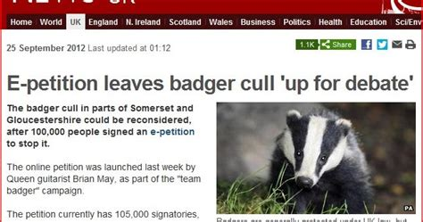 badger cull petition tameside citizen stop the badger cull e petition