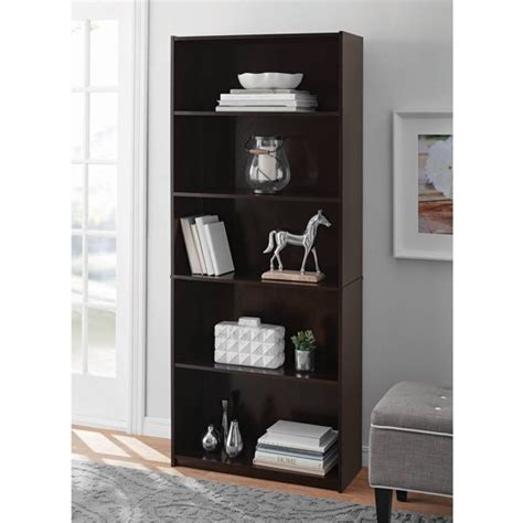 book shelves walmart mainstays 5 shelf standard wood bookcase walmart