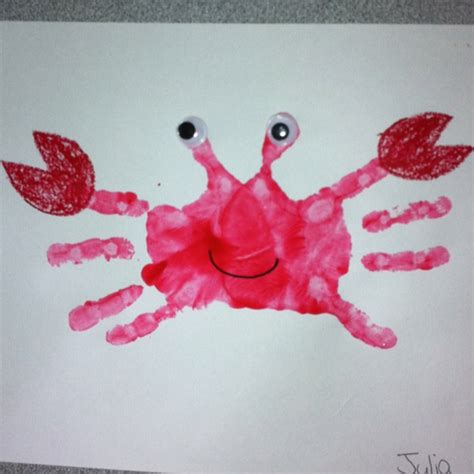 handprint craft for handprint crab craft for pre schoolers crafty things