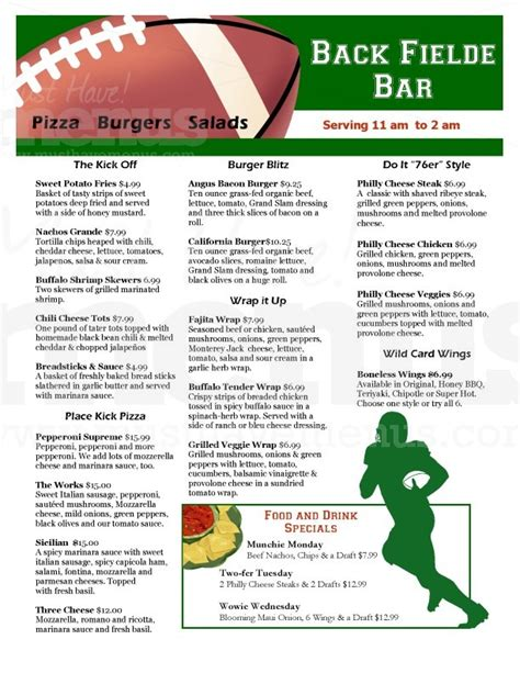 sports bar menu template football sports bar menu page 1