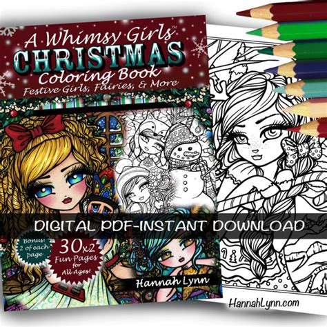 a whimsy girls christmas 168261493x pdf digital printable coloring book a whimsy girls christmas