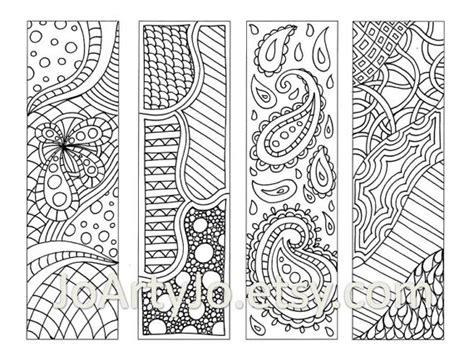Items similar to Zendoodle Bookmarks DIY, Zentangle Inspired Printable Coloring, Digital