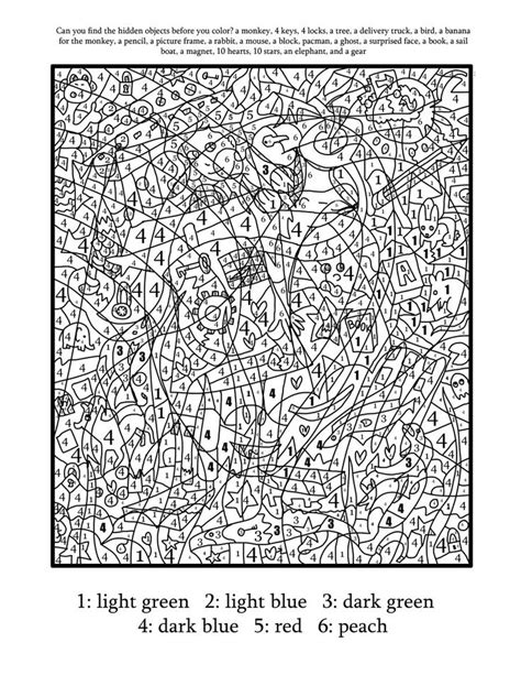Color By Number Coloring Page Find The Hidden Objects Find Printable Coloring Pages