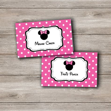 minnie mouse card templates minnie mouse food tent cards with editable text in pink