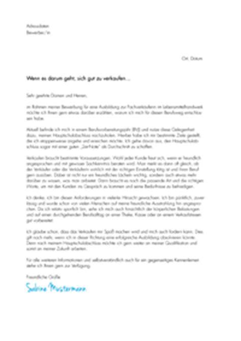 Bewerbung Fachverkauferin Im Lebensmittelhandwerk Backerei Motivationsschreiben Ausbildung Fachverk 228 Uferin Im