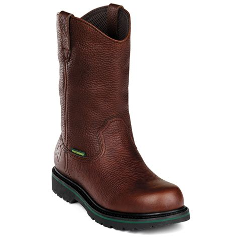 steel toe boots deere mens brown leather 10in waterproof steel