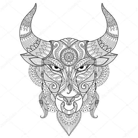angry bull head coloring coloring pages