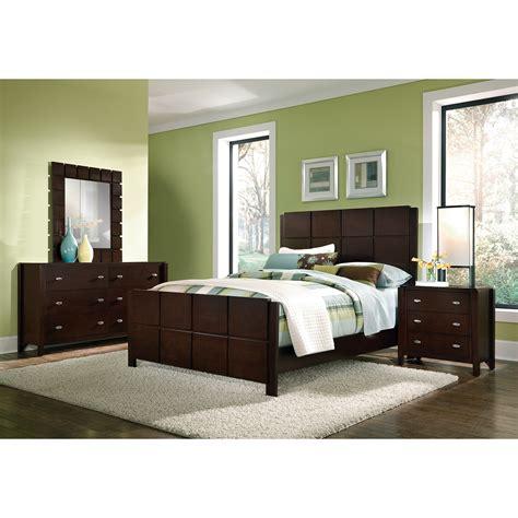 mosaic  piece queen bedroom set dark brown american signature furniture