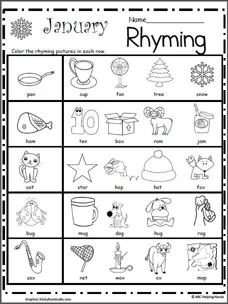 printable preschool rhyming activities rhyming worksheet for january worksheets january and