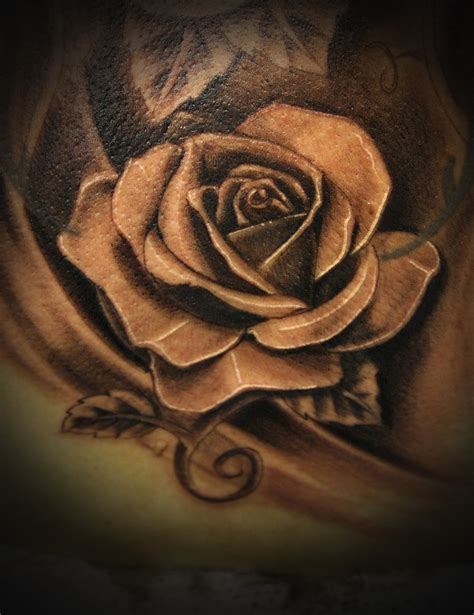 realistic rose tattoo black and grey www