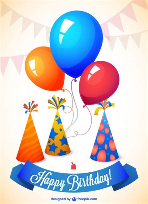 birthday card balloons template happy birthday card with balloons and hats vector